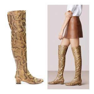 Bally Ocre Python Over The Knee Boot